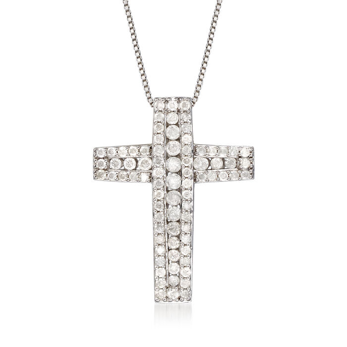 1.00 ct. t.w. Diamond Cross Pendant Necklace in Sterling Silver, , default