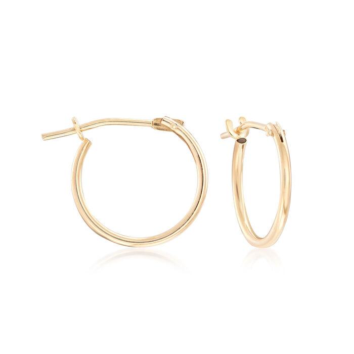 Child's 14kt Yellow Gold Heart Charm Hoop Earrings