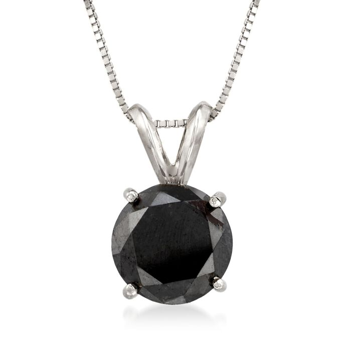 3.00 Carat Black Diamond Solitaire Necklace in 14kt White Gold, , default