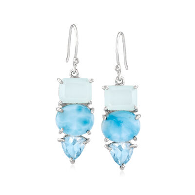 Aqua Chalcedony, Larimar and 2.50 ct. t.w. Blue Topaz Drop Earrings in Sterling Silver