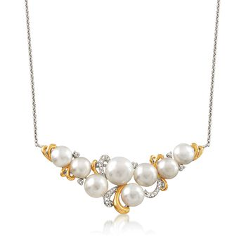 """5-7mm Cultured Pearl Necklace With Diamond Accent in Sterling Silver and 18kt Gold Over Sterling Silver. 20"""", , default"""