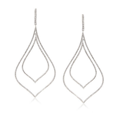 2.50 ct. t.w. Diamond Double Open Teardrop Earrings in Sterling Silver, , default