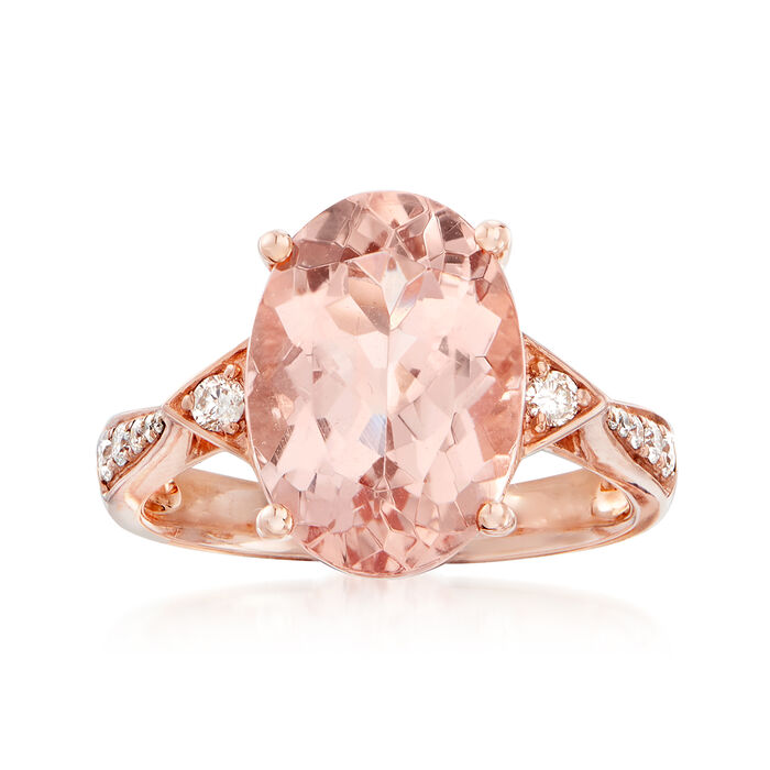 5.75 Carat Morganite and .19 ct. t.w. Diamond Ring in 14kt Rose Gold, , default