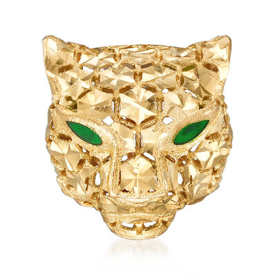 Italian 14kt Yellow Gold and Green Enamel Panther Head Pendant