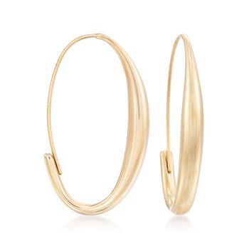 """14kt Yellow Gold Oval Wire Hoop Earrings. <span class='nowrap'>1 1/4""""</span>, , default"""