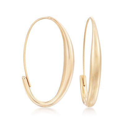 14kt Yellow Gold Oval Wire Hoop Earrings, , default
