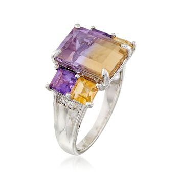 4.30 Carat Ametrine and 1.20 ct. t.w. Multi-Stone Ring With Diamond Accents in Sterling Silver, , default