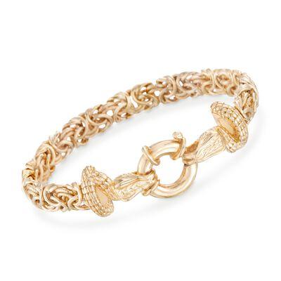 Italian 18kt Gold Over Sterling Silver Double Snake Head Byzantine Bracelet, , default