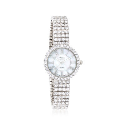 Saint James Women's Mother-Of-Pearl and 8.50 ct. t.w. CZ Watch in Sterling Silver, , default