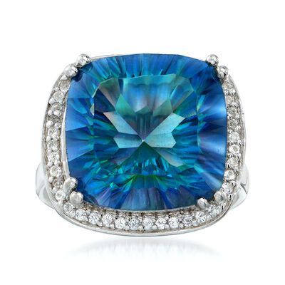 12.00 Carat Multicolored Blue Quartz and .30 ct. t.w. White Topaz Ring in Sterling Silver