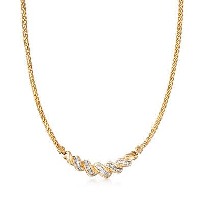 C. 1980 Vintage 1.50 ct. t.w. Diamond Twist Necklace in 18kt Yellow Gold, , default