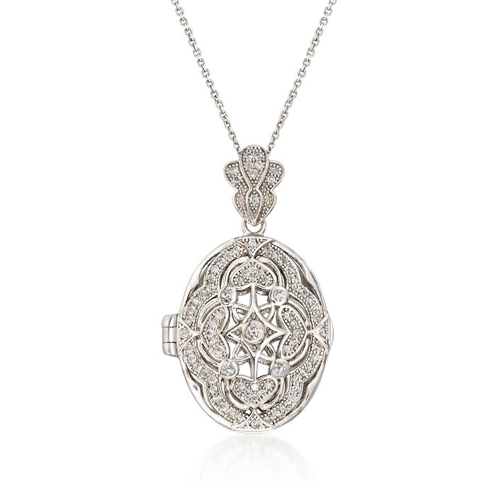 .46 ct. t.w. CZ Locket Pendant Necklace in Sterling Silver, , default