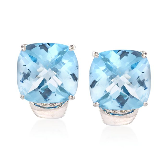 27.00 ct. t.w. Blue Topaz Earrings with Diamond Accents in Sterling Silver