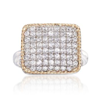 1.00 ct. t.w. CZ Square-Top Ring in Sterling Silver and 14kt Gold, , default