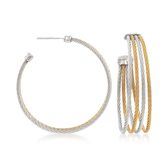"""ALOR """"Classique"""" Two-Tone Stainless Steel Multi-Cable Hoop Earrings with 18kt White Gold. 1 5/8"""", , default"""