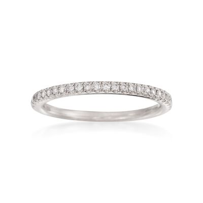 Henri Daussi .15 ct. t.w. Pave Diamond Wedding Ring in 18kt White Gold, , default