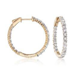 2.00 ct. t.w. Diamond Inside-Outside Hoop Earrings in 14kt Yellow Gold, , default