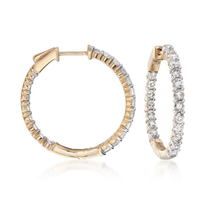 """2.00 ct. t.w. Diamond Inside-Outside Hoop Earrings in 14kt Yellow Gold. 1"""", , default"""