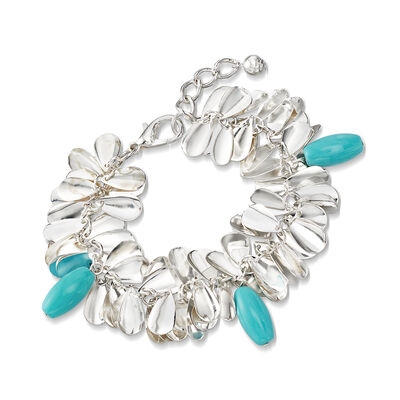 Turquoise-Blue Glass Bead Leaf Bracelet in Silvertone, , default