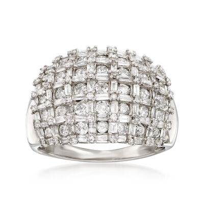 2.00 ct. t.w. Baguette and Round Diamond Basketweave Ring in 14kt White Gold, , default