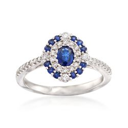 Gregg Ruth .50 ct. t.w. Sapphire and .35 ct. t.w. Diamond Ring in 18kt White Gold, , default