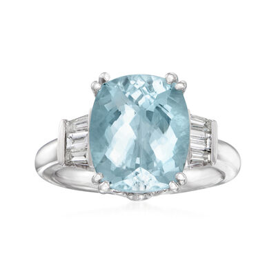 5.50 Carat Aquamarine and .38 ct. t.w. Diamond Ring in 14kt White Gold