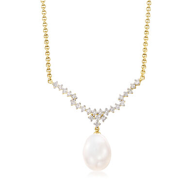 9.5-10mm Cultured Pearl and .50 ct. t.w. Diamond Necklace in 14kt Yellow Gold, , default