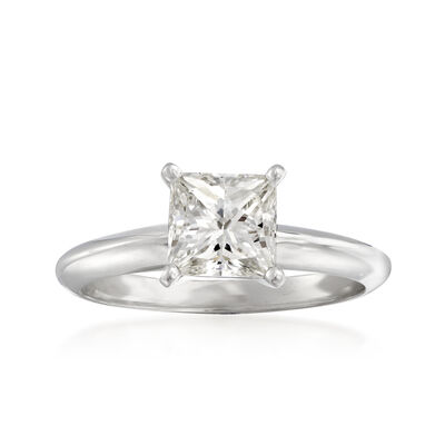 1.21 Carat Certified Princess-Cut Diamond Ring in 14kt White Gold, , default
