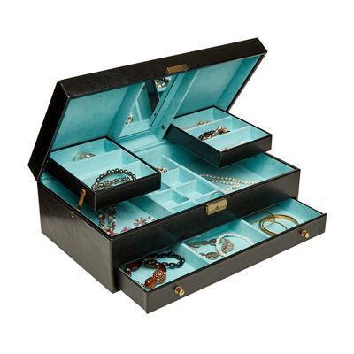 "Mele & Co. ""Lana"" Black Faux Leather Locking Jewelry Box, , default"