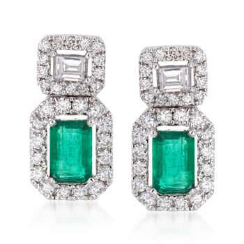 .90 ct. t.w. Emerald and .71 ct. t.w. Diamond Drop Earrings in 18kt White Gold, , default