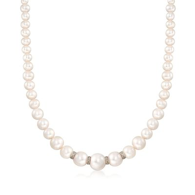 5-11.5mm Graduated Cultured Pearl Necklace With .24 ct. t.w. Diamonds and Sterling Silver, , default