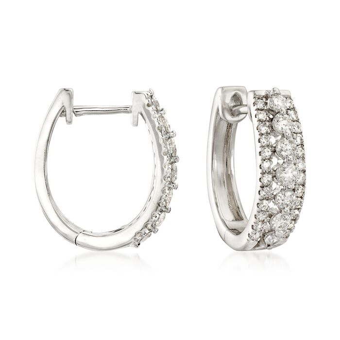 1.00 ct. t.w. Diamond Three-Row Hoop Earrings in 14kt White Gold, , default