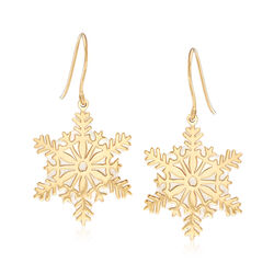 Italian Mother-Of-Pearl Snowflake Drop Earrings in 14kt Yellow Gold, , default