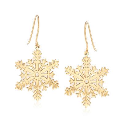 Italian Mother-Of-Pearl Snowflake Drop Earrings in 14kt Yellow Gold, , default