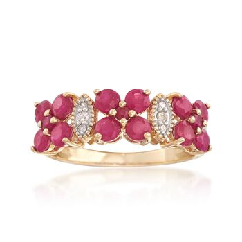 2.00 ct. t.w. Ruby Ring With Diamond Accents in 14kt Yellow Gold, , default