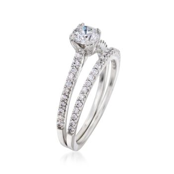 1.00 ct. t.w. Diamond Bridal Set: Engagement and Wedding Ring in 14kt White Gold