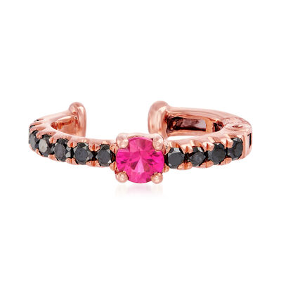 .20 Carat Ruby and .20 ct. t.w. Black Diamond Single Ear Cuff in 18kt Rose Gold