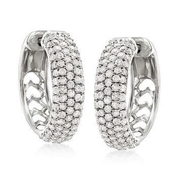 """2.00 ct. t.w. Diamond Hoop Earrings in 14kt White Gold. 3/4"""""""