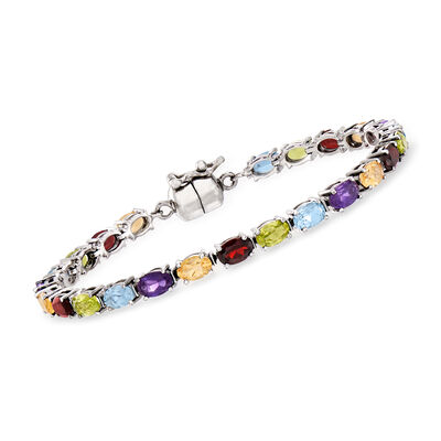 10.40 ct. t.w. Multi-Gemstone Bracelet in Sterling Silver, , default