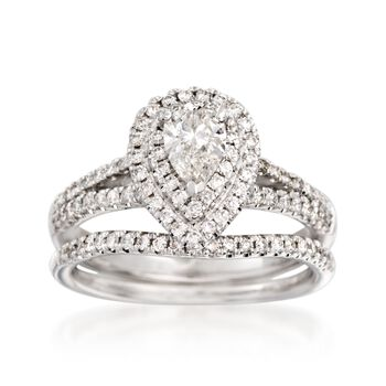 .96 ct. t.w. Diamond Bridal Set: Double Halo Engagement and Wedding Rings in 14kt White Gold, , default
