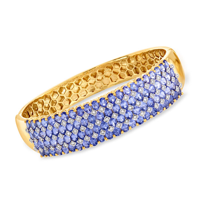 C. 1980 Vintage 17.60 ct. t.w. Tanzanite and .85 ct. t.w. Diamond Bangle Bracelet in 18kt Yellow Gold. 7.5""