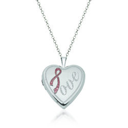 "Sterling Silver Breast Cancer Awareness ""Love"" Heart Locket Necklace With Pink Enamel. 18"", , default"