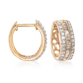 ".50 ct. t.w. Baguette and Round Diamond Huggie Hoop Earrings in 14kt Yellow Gold. 3/8"", , default"