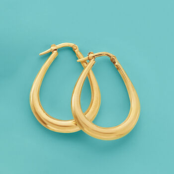"Italian 18kt Yellow Gold Hoop Earrings. 1 1/8"", , default"