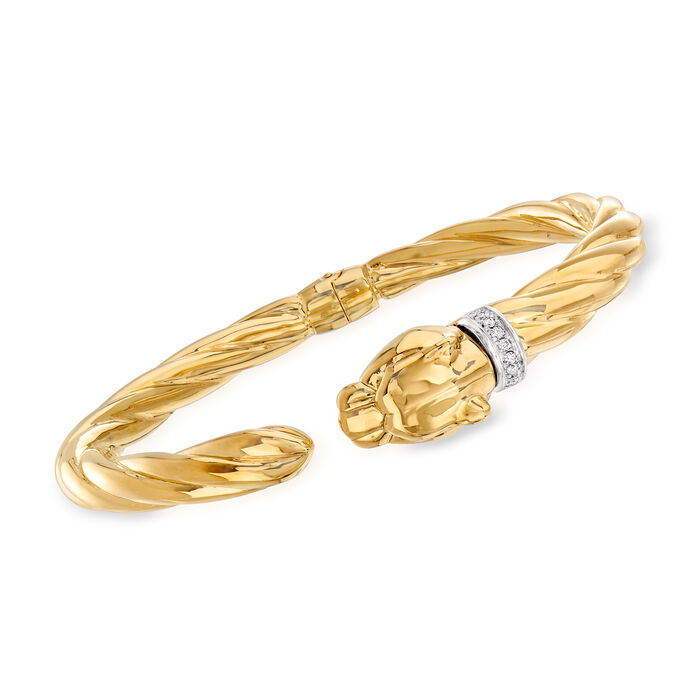 """Phillip Gavriel """"Italian Cable"""" Panther Cuff Bracelet with Diamond Accents in 14kt Yellow Gold"""