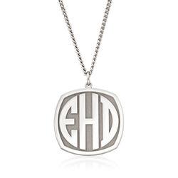 Men's Sterling Silver Monogram Pendant Necklace, , default