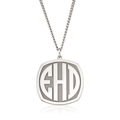 Men's Sterling Silver Monogram Pendant Necklace, , default