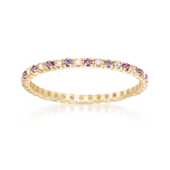 .13 ct. t.w. Amethyst  and .14 ct. t.w. Diamond Eternity Band in 14kt Yellow Gold, , default