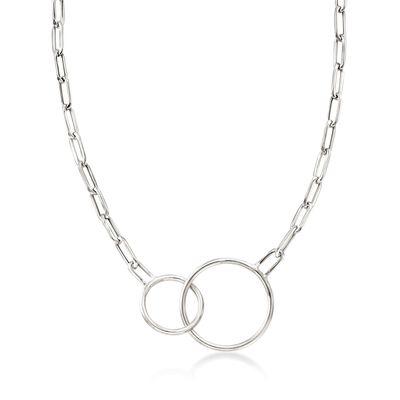 Italian Sterling Silver Double Circle and Oval Link Necklace, , default