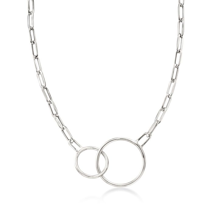 """Italian Sterling Silver Double Circle and Oval Link Necklace. 18"""", , default"""
